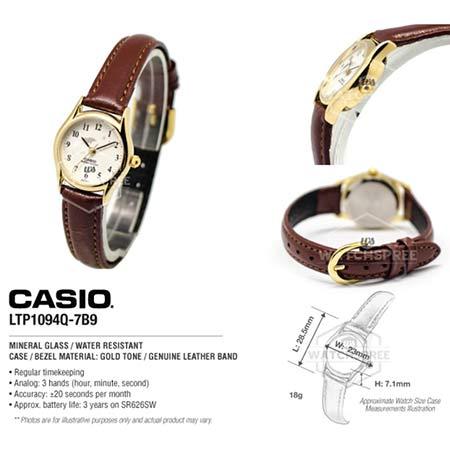 นาฬิกาข้อมือผู้หญิง-Casio-รุ่น--LTP-1094Q-สายหนังแท้