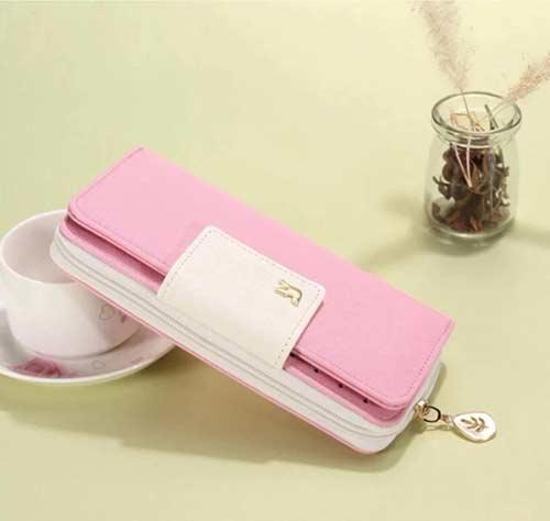 กระเป๋าสตางค์สีชมพู-แบบสั้นแบบยาว