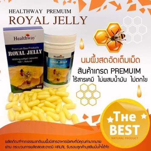 Healthway-Royal-Jelly-6%-1600-MG.-นมผึ้งเฮลล์เวย์-พรีเมี่ยม-365-ซอฟเจล